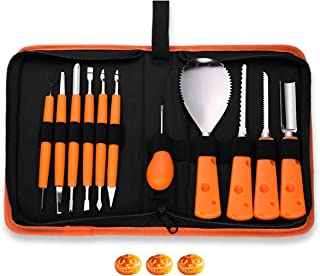 Pumpkin Carving Kit, Professional Pumpkin Carving Tools Set 11 Piece Heavy Duty Stainless Steel Carving Tools Sculpting Knifes for Halloween Jack-O-Lanterns with Case