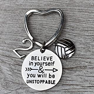 Personalized Volleyball Unstoppable Number Keychain, Volleyball Players Gifts, Believe in Yourself You Will Be Unstoppable Keychain for Men and Women