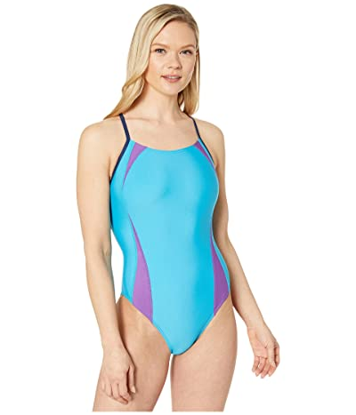 Speedo Solid Splice Flipback One-Piece (Cyan) Women
