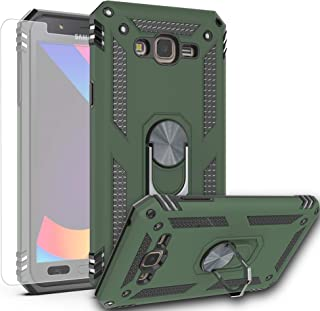 AYMECL Galaxy J7 2015 Case,Galaxy J7 Nxt/Galaxy J7 Core/Galaxy J7 Neo Case with HD Screen Protector,[Military Grade] 360 Degree Magnetic Support Metal Ring Protection Cover for Galaxy J700-ST Green