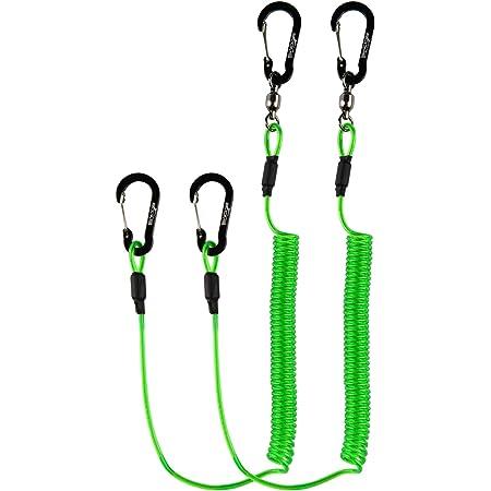 Booms Fishing T2 尻手ロープ 2mmワイヤー内蔵 スパイラルコード グリーン 2個セット