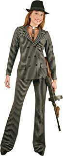 Women's Gangster Suit Costume, Black/White, Large