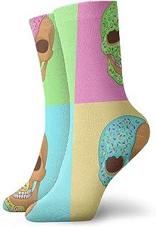 Donut Skull Pop Art Graphic Crew Socks for Men - Men's Sport Socks - Athletic Socks