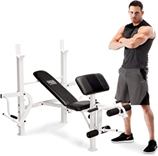 Marcy Standard Weight Bench with Leg Developer Multifunctional Workout Station for Home Gym Weightlifting and Strength Training