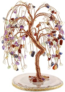 PESOENTH 7 Chakra Money Tree Feng Shui Crystals Gemstones Tree of Life Ornaments Figurines Agate Slice Geode Quartz Stone Stand for Wealth Good Luck Healing Home Desk Decoration