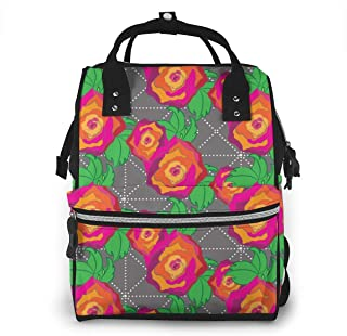 Rose Peach Orange Multi-Function Travel Backpack Nappy Bag,Fashion Mummy Bag