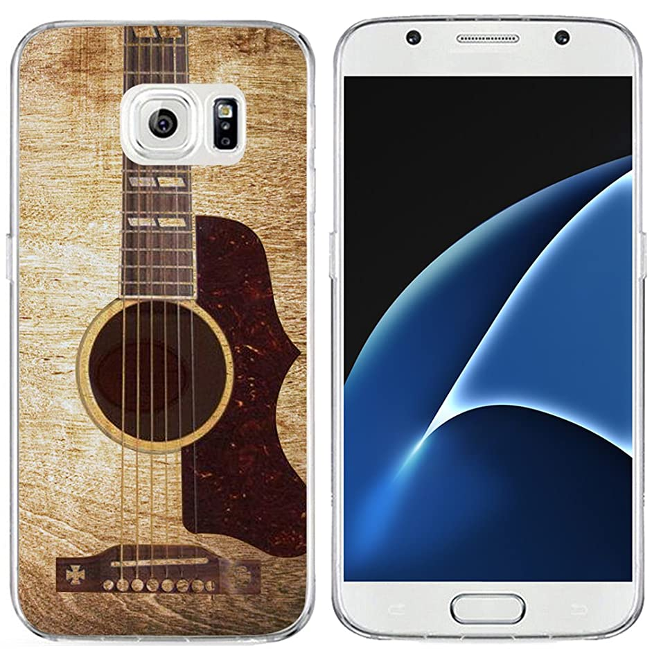 S6 Case Guitar & Galaxy S6 Protector & MUQR Bumper Rubber Gel Silicone Slim Drop Proof Protection Cover Compatible with Samsung Galaxy S6 & Vintage Guitar Music Theme