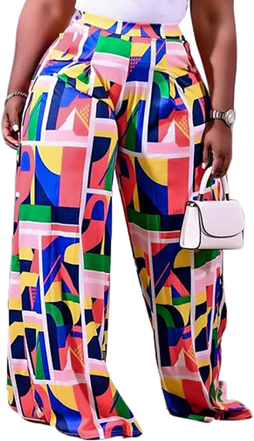 MorwenVeo Womens Casual Print High Waist Stretchy Wide Leg Palazzo Lounge Pants Plus Size Flare Touser Boho with Pockets