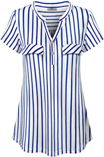 Cestyle Women V-Neck Striped Short Sleeve Blouse Flowy Casual Tunic Tops