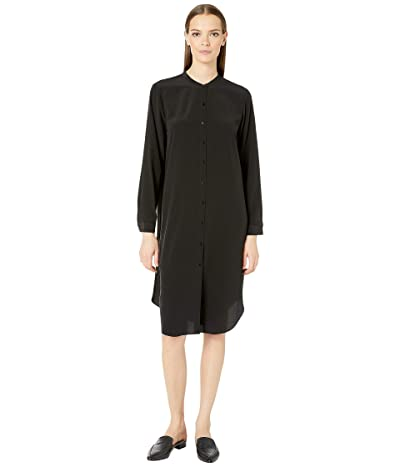 Eileen Fisher Silk Crepe De Chine Mandarin Collar Knee Length Shirtdress (Black) Women