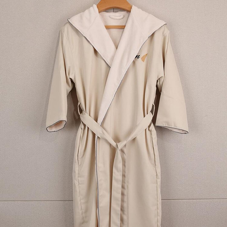 GJM Shop Cotton Beige Twill Fabric Five Star Hotel Pajamas with Cap Unisex Bathrobes