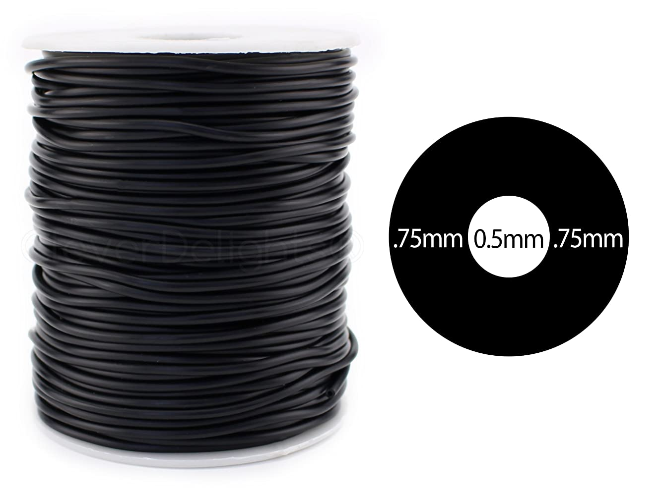 CleverDelights Black Hollow Rubber Tubing - 30 Feet - 2mm Diameter Tube Cord - 1/16