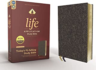 NIV, Life Application Study Bible, Third Edition, Bonded Leather, Navy Floral, Red Letter
