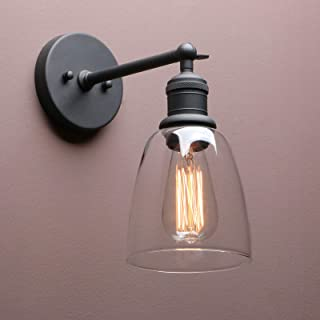 Industrial Wall Sconce, Yosoan Vintage Clear Glass Shade with Modern Industrial Farmhouse Lighting Fixture for Kitchen Island Bathroom Porch Living Room Hallway Bedroom Hotel Restaurant(Black)