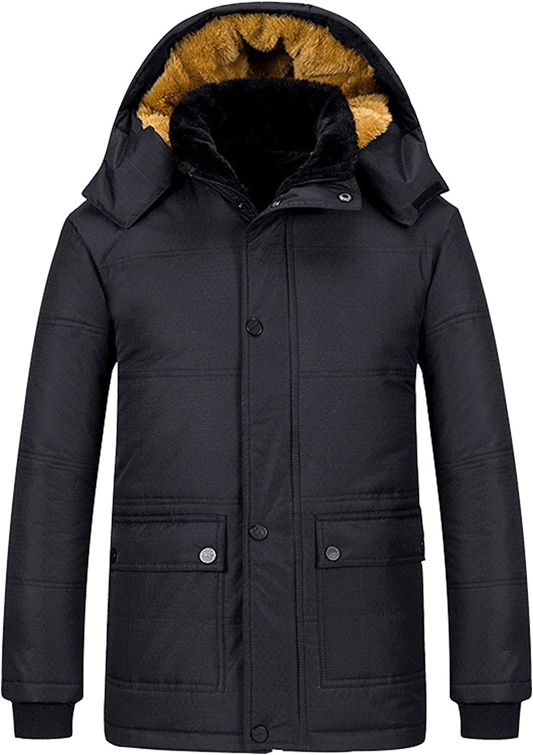 Flygo Men's Thicken Winter Coats Removable Hooded Sherpa Lined Quilted Jacket Outwear