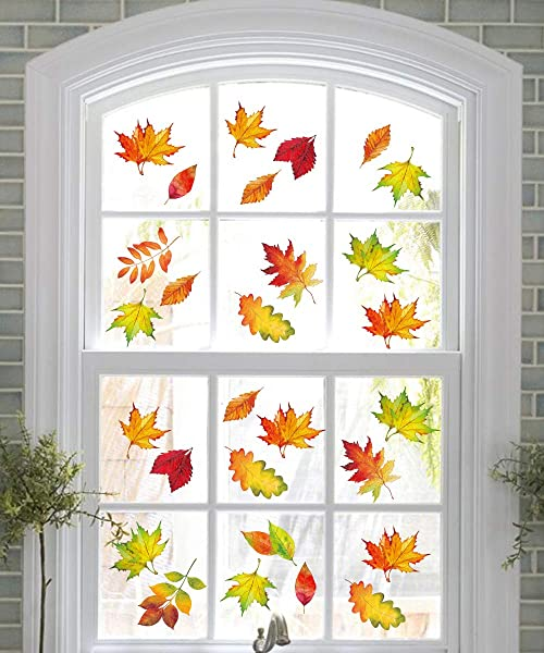 Moon Boat 120PCS Fall Leaves Window Clings Thanksgiving Maple Decorations Autumn Decals Party Decor Ornaments