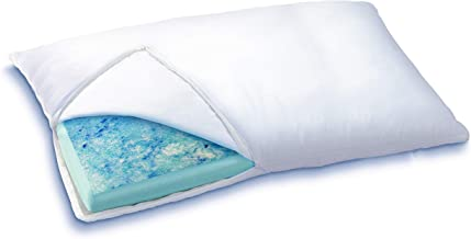Sleep Innovations Reversible Cooling Gel Memory Foam & Memory Foam Pillow with Hypoallergenic Cover, Made in The USA with a 5-Year Warranty, Queen Pillow