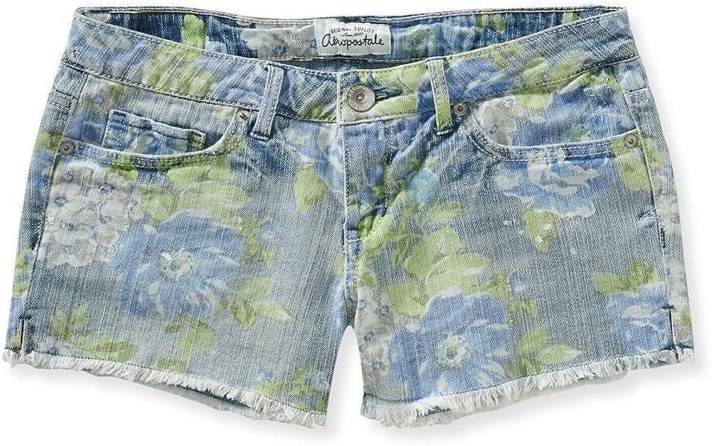 Aeropostale Women's Shorty Jean Shorts Green Blue Floral 0416 0
