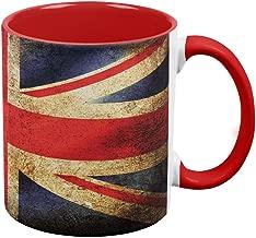 British Flag Union Jack Grunge Distressed Red Handle Coffee Mug White-Red Standard One Size