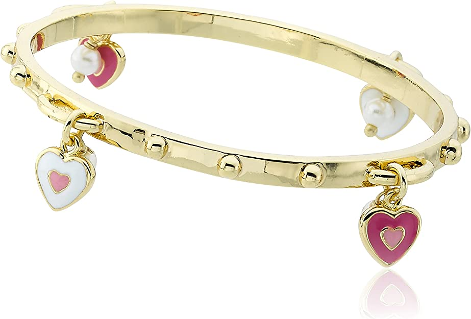 Little Miss Twin Stars Stackable Stunners 14k Gold-Plated Hot Pink Small Hearts Bangle