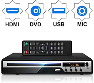 DVD Player for TV, HD DVD Player with HDMI AV Output, Karaoke MIC, and Coaxial Port, USB..