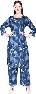 A-TEX INDIA Women's Rayon Printed straight Blue Kurti With Palazzo Set