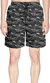 Mens Print Board Shorts Sea Turtle Black Background Quick Dry Comfortable Pockets Mesh Lining Beach Board Shorts