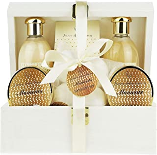 Deluxe Spa Gift Basket, Bath and Body Set for her Birthday Perfect Gift Set For Woman All-Natural Spa Treat Gift Basket (Moments Basket)