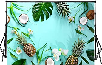 Sensfun 7x5ft Summer Tropical Backdrop Hawaiian Fruits Flowers Green Leaves Pineapple Coconut Photography Background for Luau Party Baby Shower Decorations Photo Booth Banner Photoshoot Props(WP152)