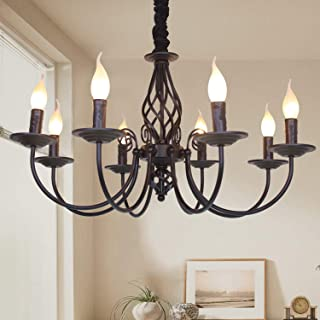 Ganeed Rustic Chandelier,8 Lights French Country Chandeliers,Metal Black Pendant Chandelier,Pendant Light Fixture for Island Kitchen Farmhouse,Dining Room,Foyer