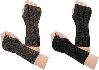Womens Wrist Fingerless Mittens Typing Gloves Winter Knit Arm Warmer 2 Pairs