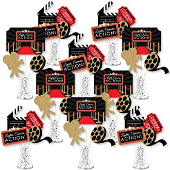 Blulu 24 Pieces Red Carpet Hollywood Centerpiece Sticks for Movie Theme Party-Table Toppers Movie Night Birthday Party Decoration Baby Shower Birthday Party Supplie