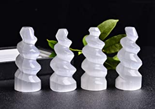 """JIC Gem 4 pcs Selenite Tower Spiral Skyscraper 4"""" Tall Strong Energy Crystals Used for Cleansing and Protection"""