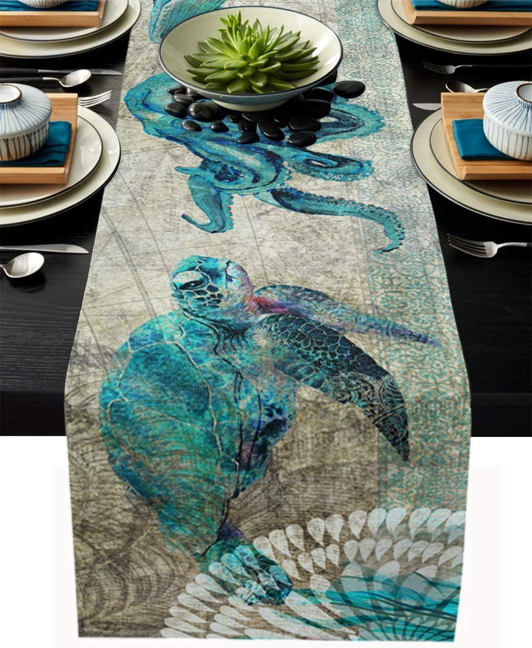 Sea Table Runner-Cotton linen-Long 72 inche Dresser Beach Scarve Direct stock Sacramento Mall discount