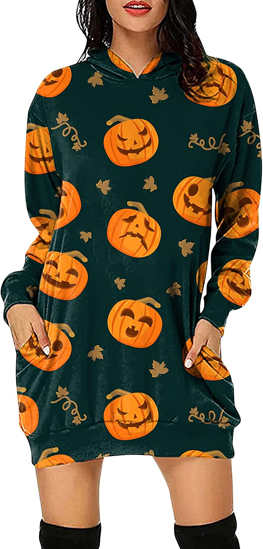 DESKABLY Womens Dresses Halloween Long Sleeve Crewneck Sweatshirt Casual Pullover Loose Printing with Pocket Hood Dress