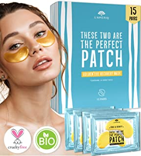 Under Eye Patches Gold Eye Masks for Puffy Eyes - Dark Circles Under Eye Treatment - Natural Under Eye Mask - Face Skin Recovery Eye Pads - Anti-aging Bags Treatment for Men and Women