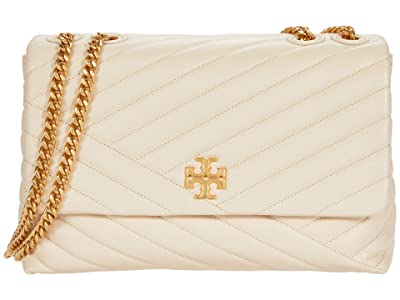 Tory Burch Kira Chevron Convertible Shoulder Bag (New Cream/Rolled Brass) Handbags