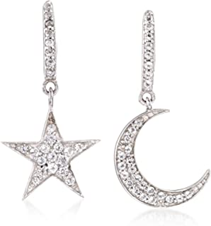 0.29 ct. t.w. White Topaz Star and Moon Mismatched Drop Earrings in Sterling Silver