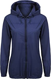 Women's Lightweight Rain Jacket Waterproof Hood Fashion Outdoor Rain Coat S-XXL
