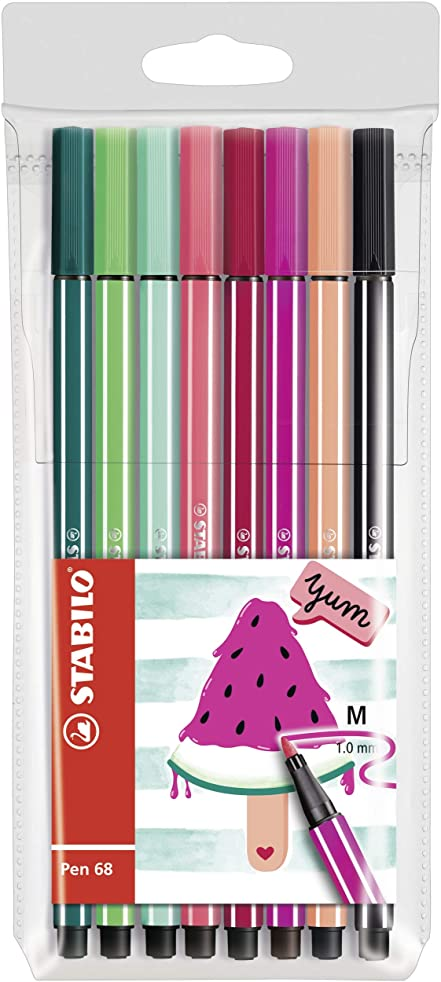 STABILO Pen 68 Living Colors Drawing Felt Tip Pens Medium Pack of 8 Watermelon Design