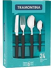 Tramontina Tableware set 24 Pcs, polypropylene handles & Steak Knife, Black Munique Line