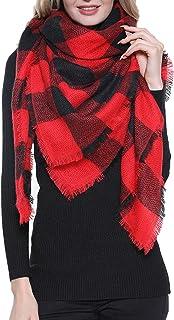 Plaid Blanket Scarf Women Big Square Long Scarves Warm Tartan Checked Shawl …