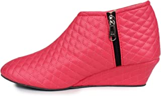 Cattz Women's Red Color Synthitic Leather Long Shoes/Boot for Girls
