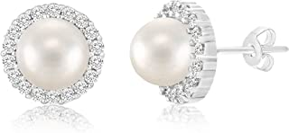 Sterling Silver Simulated Pearl and Cubic Zirconia Stud Bridal Halo Earring for Women (Various Colors)