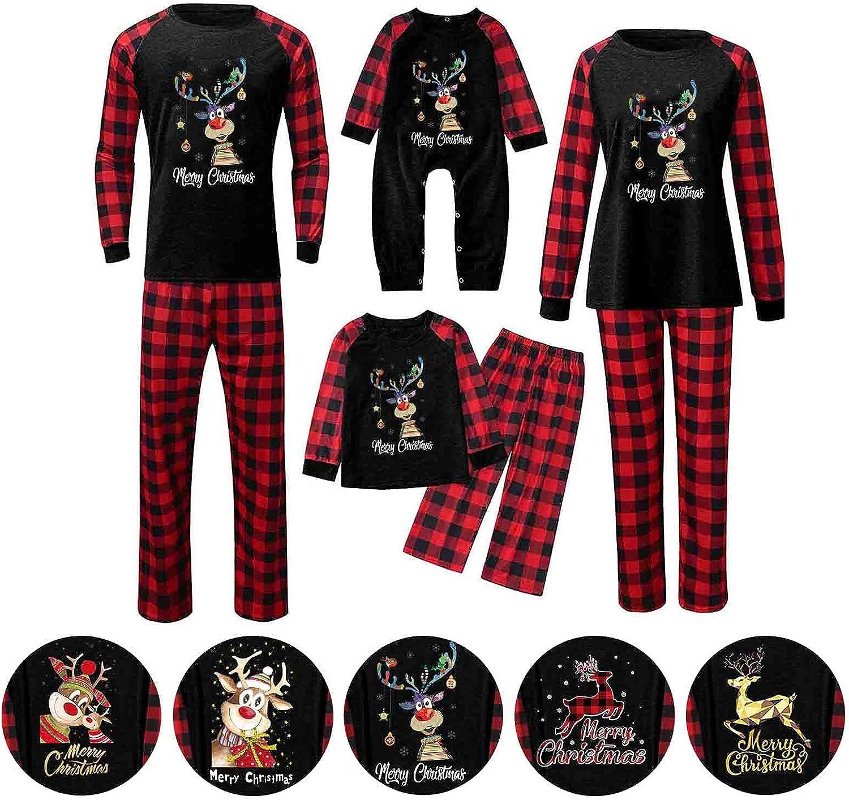 Matching Family Christmas Pajamas Sets 2021 Xmas PJ's Elk Tops and Red Plaid Print Long Pants Sleepwear Loungewear