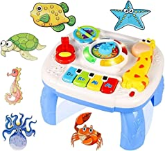 6 Bonus Puzzles + Portable Baby Toy Musical Learning Table Early Education Music Activity Center for Home Crib Stroller Car Travel