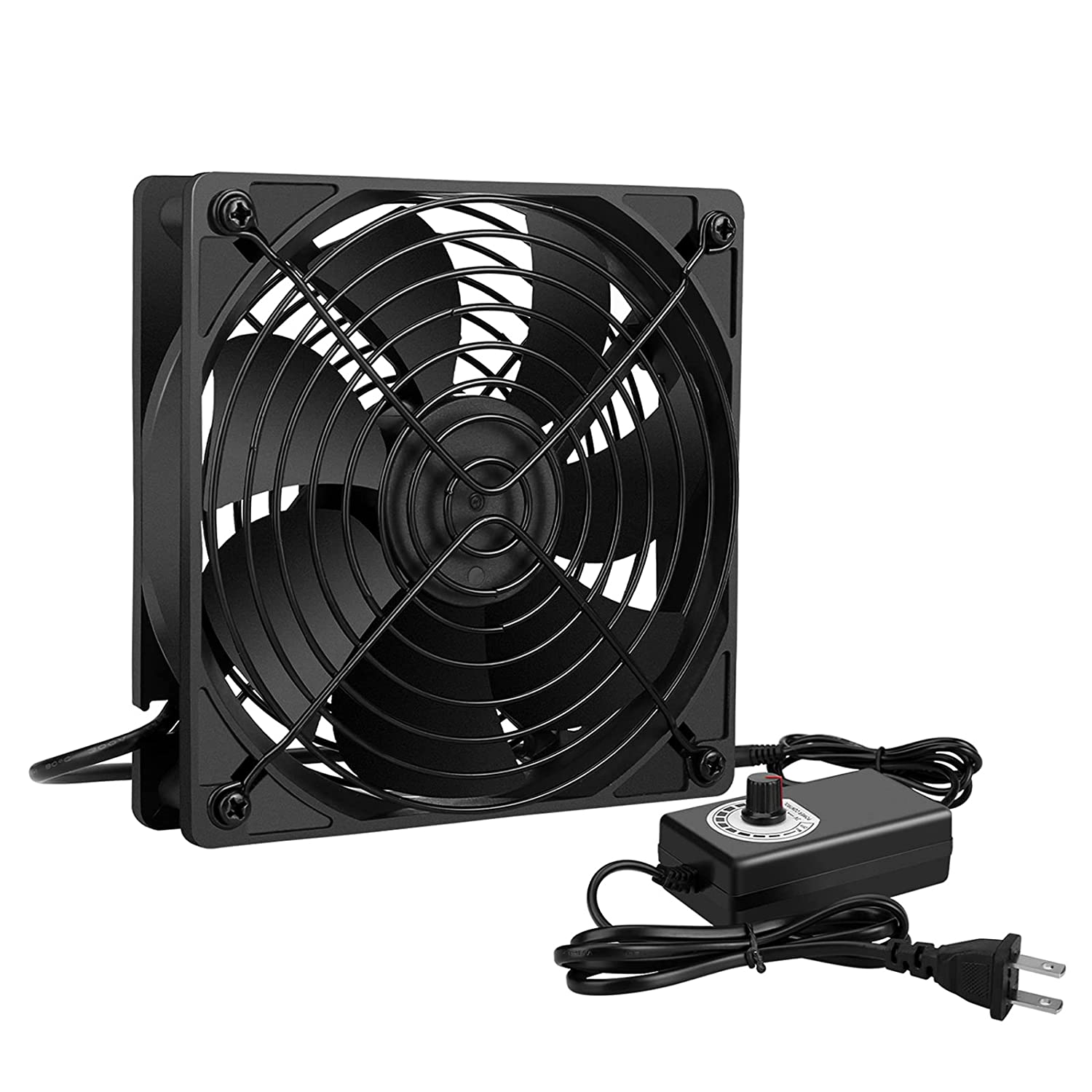 Qirssyn 120mm AC Powered Fan Variable Speed Controller, Strong Airflow AC 110V to 220V for Receiver LED Lights Amplifier Biltong Box Xbox DVR Playstation Component Cooling