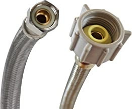Fluidmaster B1T06 Toilet Connector, Braided Stainless Steel - 3/8 Female Compression Thread x 7/8 Female Ballcock Thread, 6-Inch Length