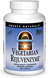 Source Naturals Vegetarian RejuvenZyme, Whole Body Vegetarian Systemic Enzymes, 500 Capsules