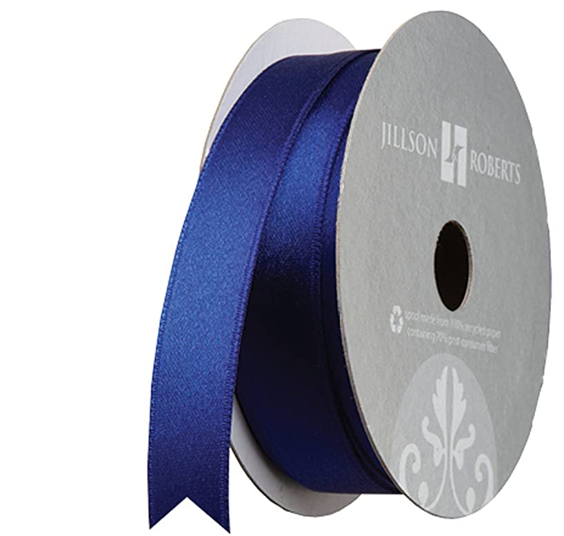 Jillson Roberts 5/8-Inch Double Faced Satin Ribbon Available in 21 Colors, Navy, 6 Spool-Count (FR0926)